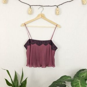 INTIMATELY FREE PEOPLE Purple Lace Ruffle Crop Top